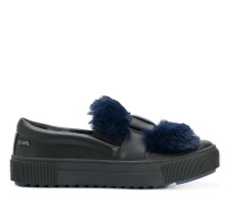 fur patch slip-on sneakers