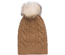 knit and fur hat