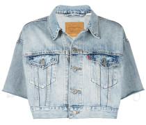 Kurzärmelige Cropped-Jeansjacke