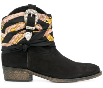 buckle and scarf detail ankle boots