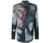 tiger print denim shirt