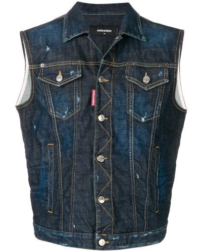 Distressed-Jeansweste mit Brusttaschen