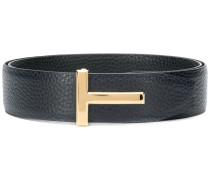 T logo buckle belt