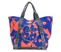 Oversized-Handtasche mit Vogel-Print