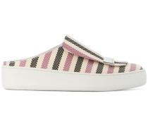 sr1 striped backless slip-on sneakers