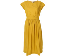 belted flared midi dress