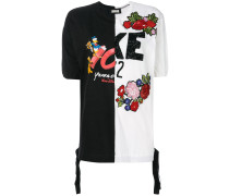 embellished contrast panel T-shirt