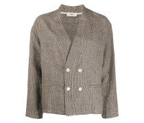 houndstooth-pattern double breasted blazer