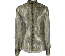 snakeskin print sheer shirt