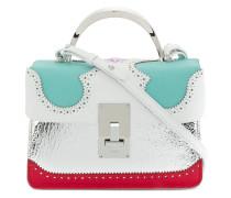 brogue detail contrast panel handbag