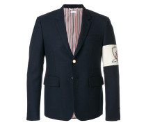 High Armhole Single Breasted Sport Coat With Embroidery Patch Armband In Navy Canvas Suiting