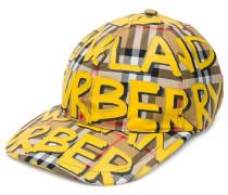 graffiti-print vintage check baseball cap