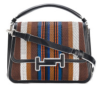 woven striped double T bag