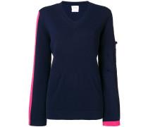 side stripe V-neck sweater