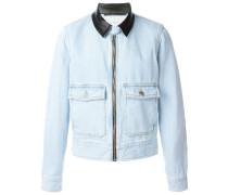 Jeansjacke mit Ledereinsätzen