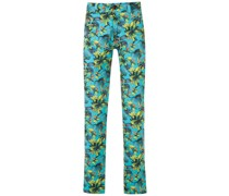 straight-fit printed trousers