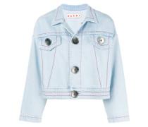 Cropped-Jeansjacke mit Knopfleiste