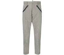 arrow embroidered checked trousers