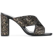 Mules im Glitter-Look