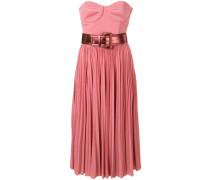 strapless flared midi dress