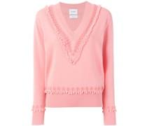 textured trim V-neck sweater