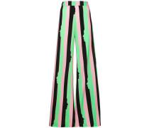 striped silhouette printed flared trousers