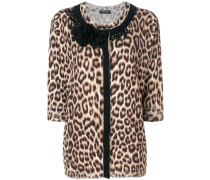 Verzierter Cardigan mit Leoparden-Print