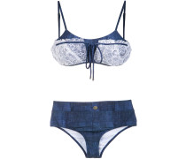 lace applique denim bikini set