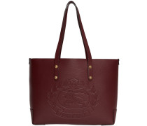 Small Embossed Crest Leather Tote
