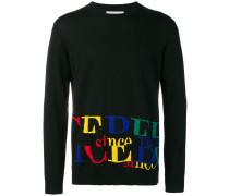 Pullover mit buntem Intarsien-Logo