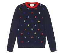 Intarsien-Pullover mit Bienen und Sternen