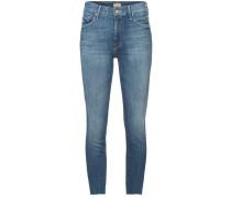 Cropped-Skinny-Jeans mit ausgefranstem Saum