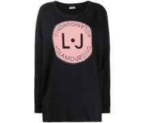 studded logo print oversized jumper
