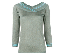 metallic v-neck pullover