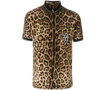 leopard print polo shirt with logo patch