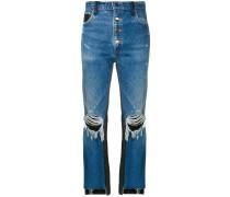 Cropped-Jeans mit Ledereinsätzen