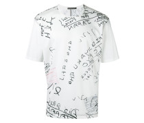 T-Shirt mit Notiz-Print