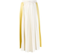 contrast panel pleated skirt