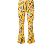 cartoon print skinny trousers