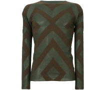 longsleeved geometric pattern T-shirt