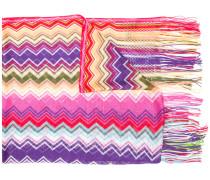 zigzag stripe long fringe scarf