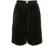 Shearling-Shorts mit Leo-Print