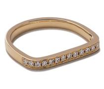 14kt 'Mini Charm' Gelbgoldring mit Diamanten