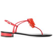 Flache Sandalen mit Blumenapplikation