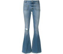 distressed effect bootcut jeans