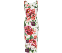 sleeveless peony print fitted dress