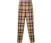 plaid high waist trousers