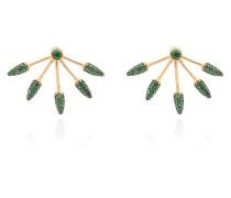 green diamond five spike earrings