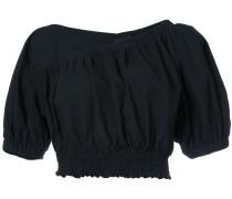 cropped gathered hem blouse