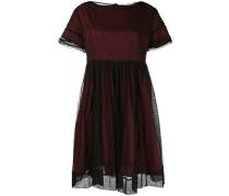 mesh overlay boat neck dress